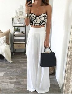 high waist white pants for office