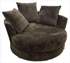 Nebraska Furniture Mart – Robert Michaels Swivel Cuddler with Loose Back Pillows - Instead of a loveseat??