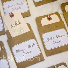 Brown Escort Cards. Would fit theme, cheap and easy. Add wedding colors somehow.
