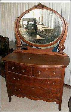 Circa 1910 Birdseye Maple Princess Dresser Vanity With