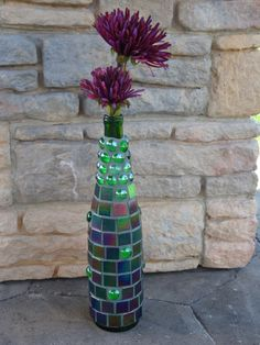 Mosaic Wine Bottle  Iridescent Green Tiles by MosaicsbyMadonna, $40.00