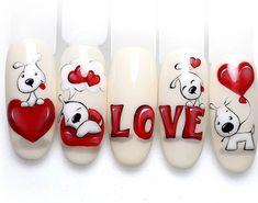 Rose Nail Art, Rose Nails, Heart Nails, Holiday Nails, Christmas Nails, Super Cute Nails, Pretty Nails, Valentine Nail Art, Nail Art Designs Videos
