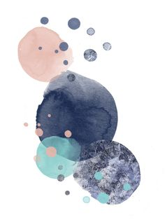 artwork from Love&Ink interior, art, digital print, interior, homeward, dots, waterpaint, blue tones, pale pink, mint, living, home