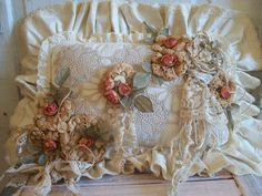 handmade shabby Cottage Accent Pillow romantic apricot roses OOAK anita Spero