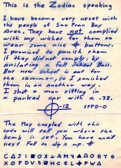 Just one of many letters sent to the San Francisco Police Department by the Zodiac Killer. This particular taunt was received June 26, 1970.