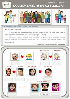 CLASE DE ESPAÑOL: los miembros de mi familia Spanish Practice, Spanish Games, Spanish Vocabulary, Spanish 1, High School Spanish, Elementary Spanish, Spanish Teacher, Spanish Classroom, Spanish Worksheets
