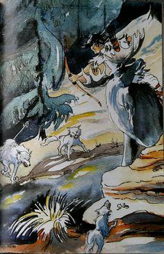 Illustrasjon fra boken Balladen om Ullin