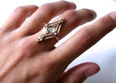 SERREN - www.rellikjewelry.com bronze ring with chalcedony stone