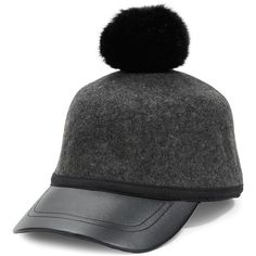 Collection 18 Rabbit Fur Pompom Wool Baseball Hat ($36) ❤ liked on Polyvore featuring accessories, hats, charcoal grey, pom pom baseball hat, woolen hat, baseball cap, rabbit hat and baseball hats