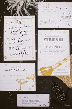 Lisa Pauls Gold New Years Eve Wedding Invitations