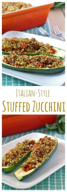 A light and healthy summer dinner! Filled with turkey sausage, tomatoes, and topped with crunchy bread crumbs, this is sure to be a family favorite! Veggie Recipes, Paleo Recipes, Dinner Recipes, Cooking Recipes, Zuchinni Recipes, Healthy Stuffed Zucchini, Clean Eating, Healthy Eating, Zucchini Boats
