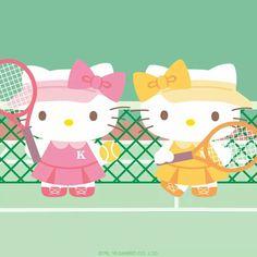 Hello Kitty playing tennis