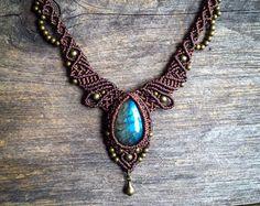 Macrame Bohemian necklace boho jewelry by by MariposaMacrame