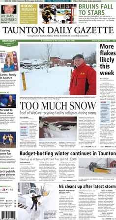 The front page of the Taunton Daily Gazette for Wednesday, Feb. 11, 2015.