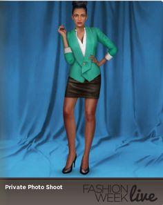 Today's model is wearing:  --Aquamarine shawl lapel jacket  --Champagne boyfriend shirt  --Jet high heel pumps
