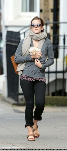Emma Watson style: every outfit is better with a puppy. Emma knows what's up.