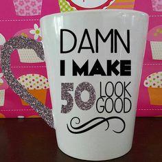 50th Birthday Gift Damn I Make 50 Look Good Mug Ceramic Glitter Dipped Milestone