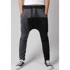 Active Casual Lace-Up Color Block Splicing Polyester Men's Harem Pants - vpstyles #mens #mensfashion #menpants