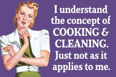 Understand Cooking Cleaning Just Not For Me Funny Plastic Sign Targa in plastica