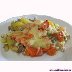 Möhrenauflauf - Auflauf-Rezept Möhrenauflauf-Rezept mit Kartoffeln, Hackfleisch oder Cabanossi glutenfrei