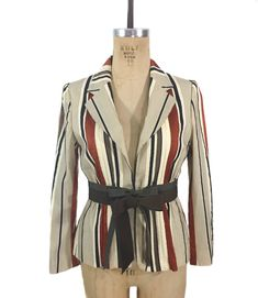 49653e7419ec4 Items similar to vintage MOSCHINO striped jacket / Cheap and Chic / ribbon  stripes / fitted jacket / high fashion / women's vintage jacket / tag size 8  on ...