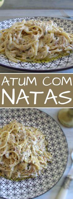 Atum com natas Pastas Recipes, Tuna Recipes, Cream Recipes, Gourmet Recipes, Healthy Recipes, Recipies, Eggs Low Carb, Recipes With Few Ingredients, Healthy Food Delivery