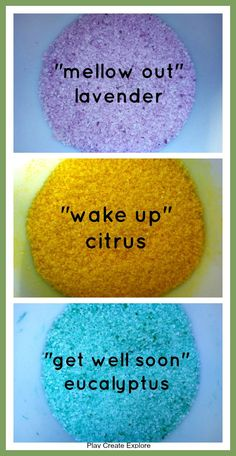 """Sensory Invitation to Play: from Play Create Explore: Epsom Salt Sensory Play - I especially like the """"wake up"""" yellow, citrus-scented salts. Just be careful about the kids not ingesting this! Sensory Integration Therapy, Art Therapy Activities, Sensory Activities, Sensory Tubs, Sensory Boxes, Sensory Play, Creative Activities For Kids, Oil Mix, Epsom Salt"""