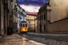Color Urbanscape photograph of the 28 tram Wall Art Prints, Fine Art Prints, Canvas Prints, Professional Photo Lab, Subtle Textures, Lisbon Portugal, Shades Of Black, Textile Prints, Photograph