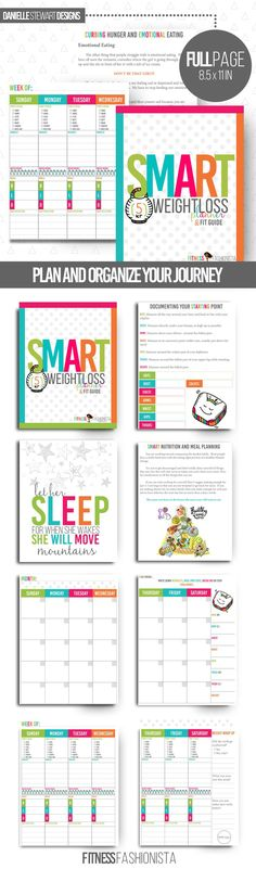 Plan and organize your weight loss and fitness journey with this printable weight loss planner with full fitness guide.  Includes everything you need to rock your journey and reach your goals.