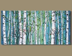 abstract painting, panoramic birch tree painting, white birch, blue green, abstract landscape painting, birch forest (24x48) Paper Whites