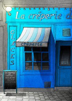 Paris illustration  Closing time  Fine art prints  Paris by tubidu, $20.00