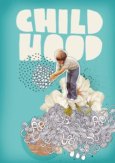 Childhood by Nazario Graziano. Mixing photos with hand-drawn elements.