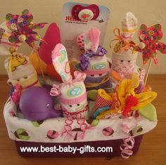 newborn baby gift basket for baby girl - easy to make and sooooo cute!