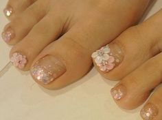 For pink themed this is actually really pretty. But I'd have to do something contrasting with it. Like badass platform peep toes in red or black. Pedicure Designs, Pedicure Nail Art, Toe Nail Designs, Pretty Toe Nails, Cute Toe Nails, Bling Nails, My Nails, Painted Toe Nails, Nail Tattoo
