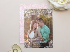 Hope Vintage Lace Wedding Save the Date Photo Card, engagement announcement by Banter & Charm