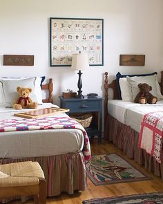 Classic brown, navy and cream kids bedroom with a vintage feel. Perfect for boys or girls on My Sweet Prints Blog