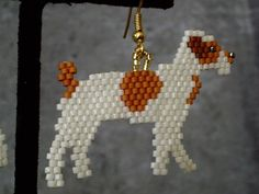 Beaded Jack Russell Terrier Earrings by DsBeadedCrochetedEtc