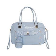 Lichtblauwe lak luiertas met bijbehorend speentasje van het Spaanse merk Mayoral.