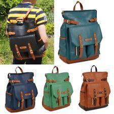 Vintage style Womens Mens Unisex backpack school bag faux leather Freeshipping