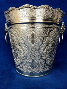 Silver Persian, Middle East, Arabic Chased Ice Bucket With Lion Head Handle