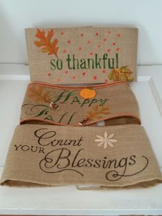 Handpainted Burlap Pillow Wraps  for  Fall from www.interiorlandscapes.etsy.com