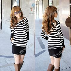 Long Sleeve Stripes Cotton Casual Hooded Hoodie Mini Dress #238