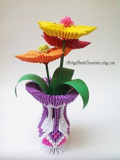 3d Origami Flower Vase 3d Origami Vase with door ArtsyHandsCreations