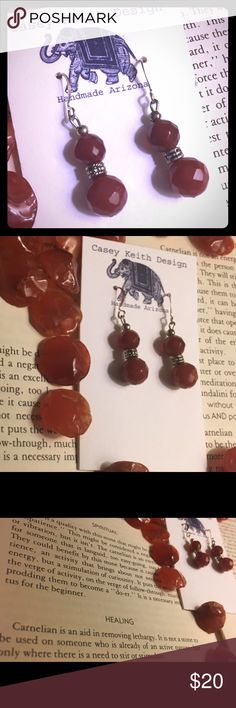 Power Surge Earrings Faceted carnelian plays off itself to help generate power for a low energy wearer. The pop of color helps wake up the sleepyheads among us! Artists signature gift packaging included with purchase. Casey Keith Design Jewelry Earrings