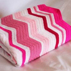SALE... Chevron blanket - pinks - handmade crochet - childs bed blanket on Etsy, $55.07