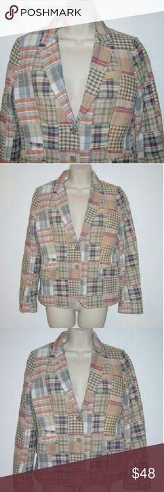 """J Crew Schoolboy Madras blazer sz 4. T Brand new soft earth tones patchwork blazer Bust 37"""", long 23 j crew Jackets & Coats Blazers"""