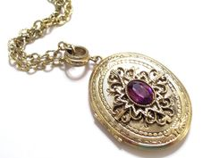 Whiting Davis Goldtone Faux Amethyst Locket Vintage by LoveLockets, $76.00