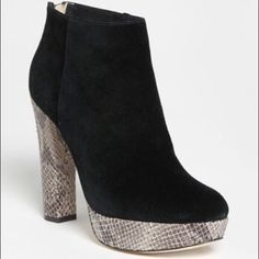 Michael Kors black suede snake skin bootie NEW!! NEVER WORN!! Michael Kors black suede snake skin booties! These are perfect in every way with zipper back. No box. Michael Kors Shoes Ankle Boots & Booties