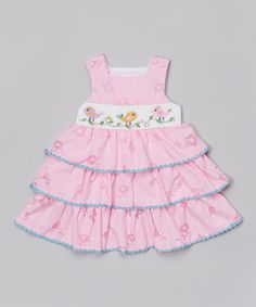 Pink Bird Smocked Tiered Dress - Infant & Toddler #zulily #zulilyfinds
