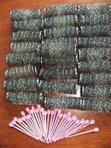Lot of 26 Vintage Brush Spring Hair Curlers Rollers Pins Approx .' How did we ever sleep m those things?